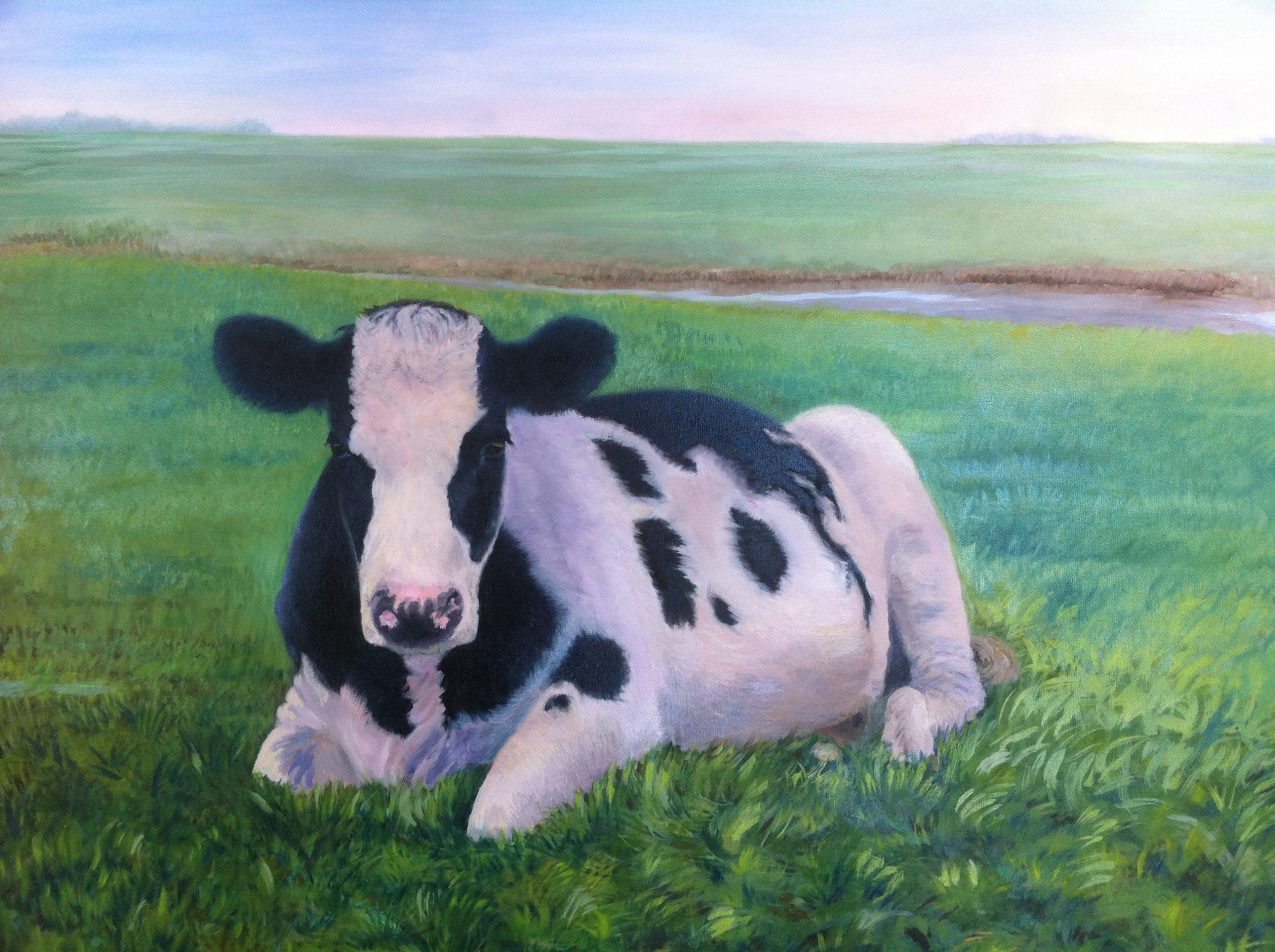 Painting of cow lying on grass