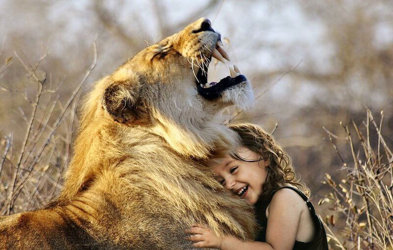 Girl hugging roaring lion