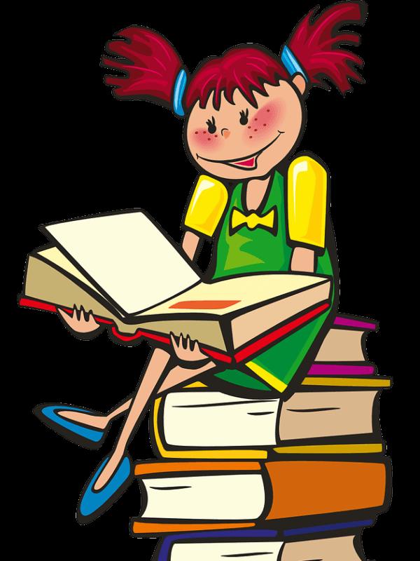 Cartoon girl sitting on books, reading