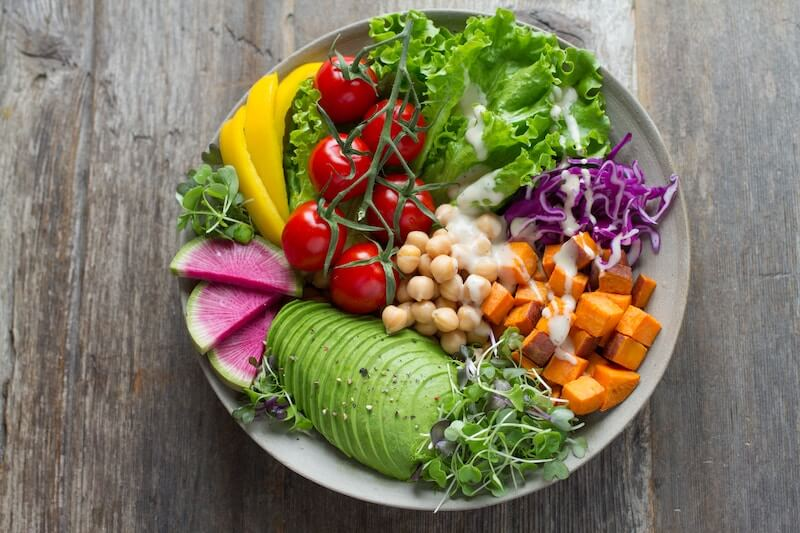 Plate of colourful salad