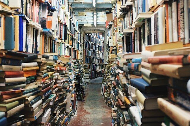 Library overflowing with books