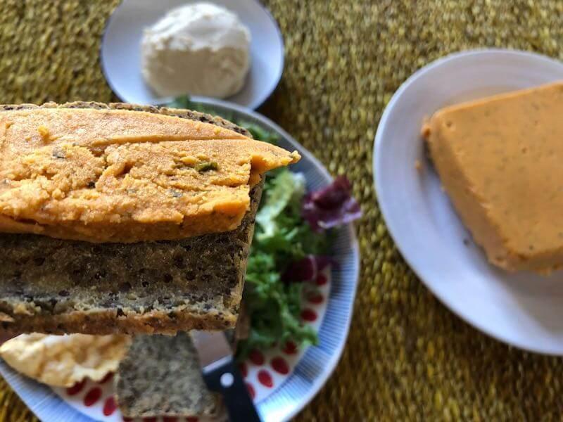 Vegan cheese on gluten free bread