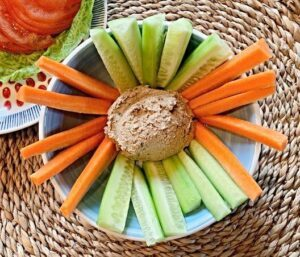 Vegan walnut cheese paté with crudites