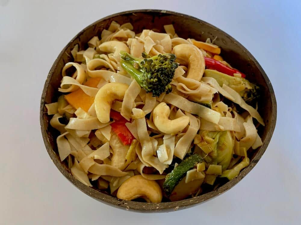 Bowl of gluten free noodles with vegetables