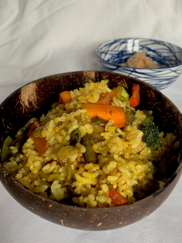 Bowl of vegan vegetable rice