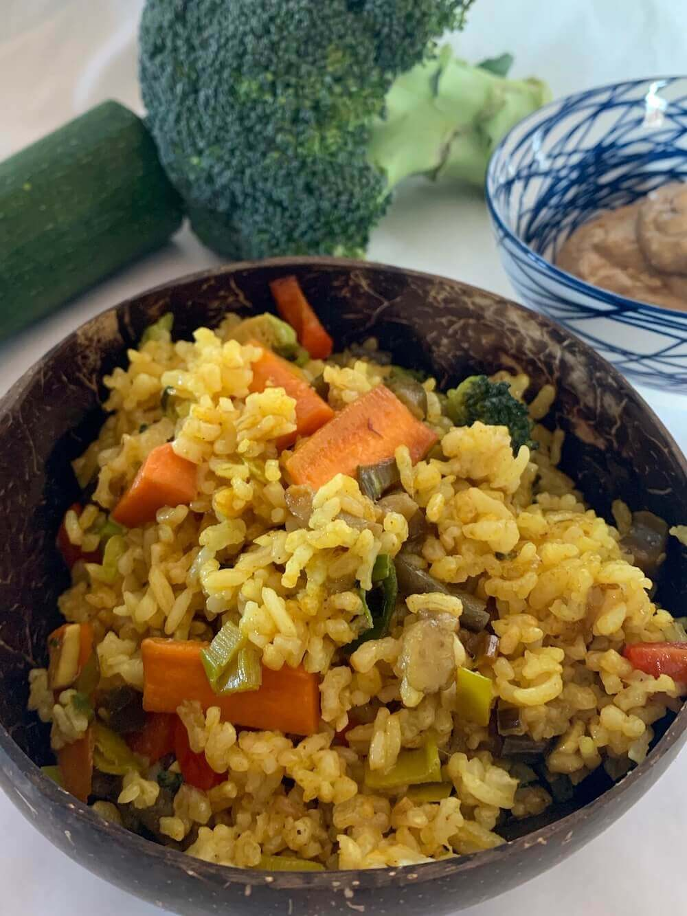 Vegetable rice in a bowl