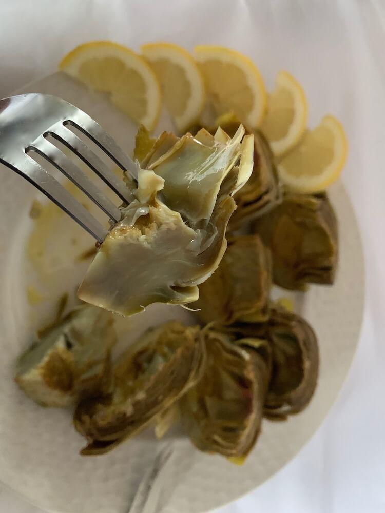 Artichoke on a fork