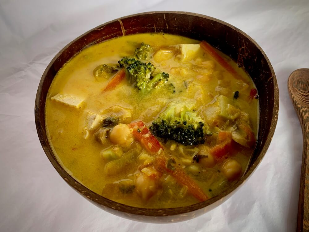 Bowl of vegan coconut curry