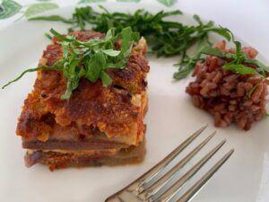 Slice of vegan eggplant parmesan