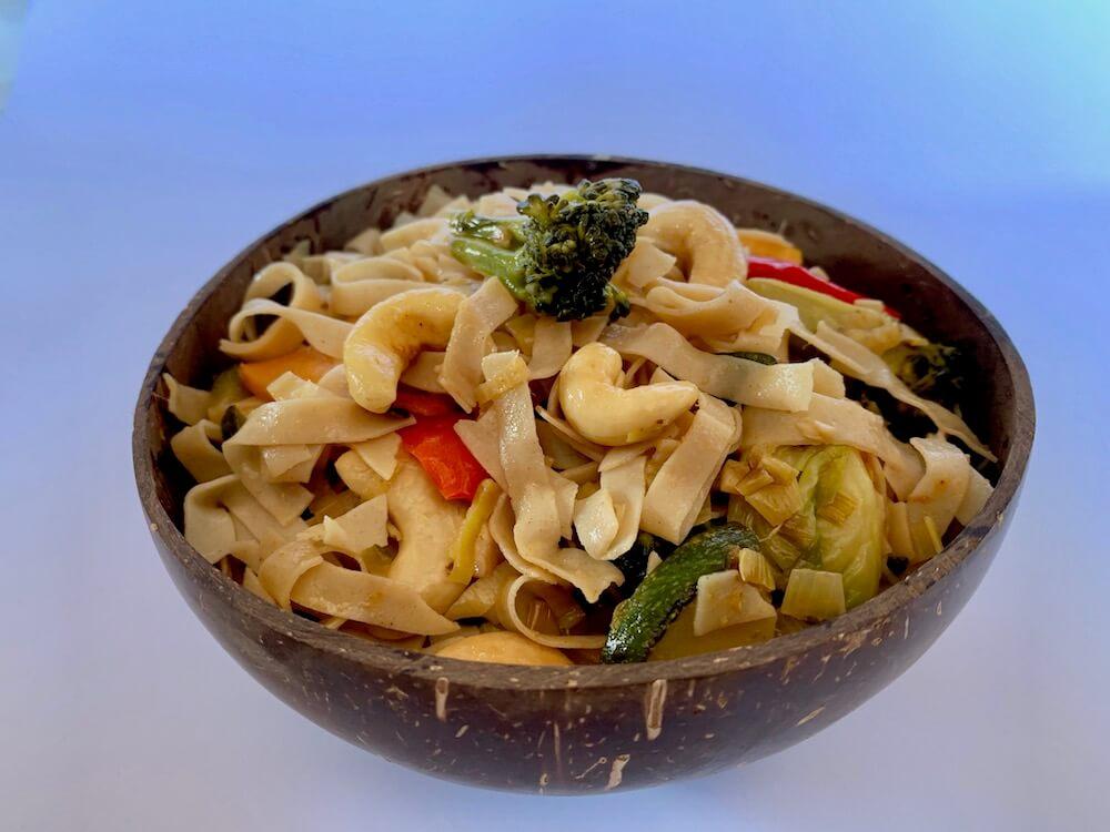 bowl of vegan Bami - noodles with vegetables