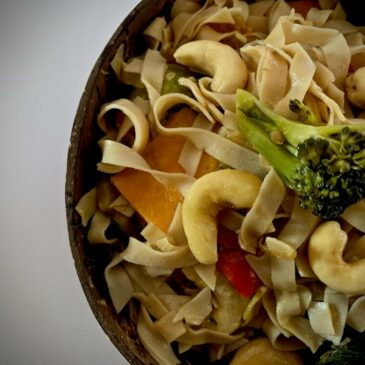 Close up of vegan noodles with vegetables