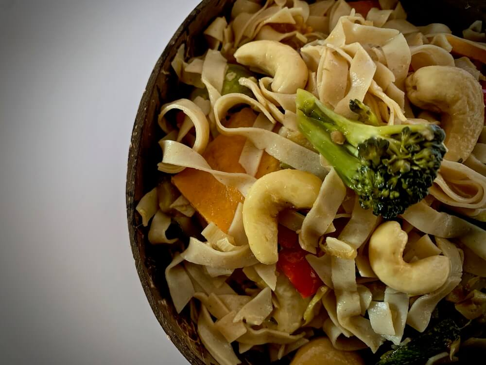 Close up of vegan noodles with vegetables