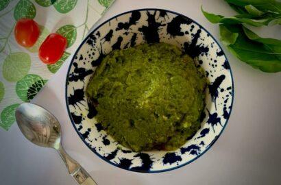 Bowl of homemade vegan pesto