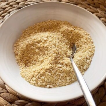 Bowl of vegan parmesan substitute