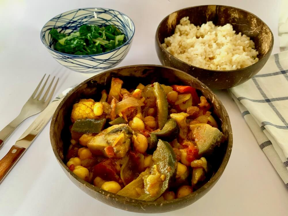 Bowl of eggplant curry