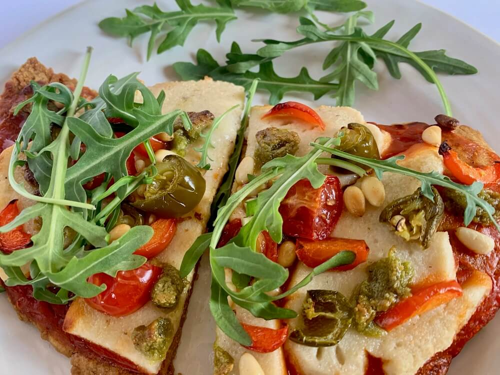 Homemade gluten free vegan pizza slices