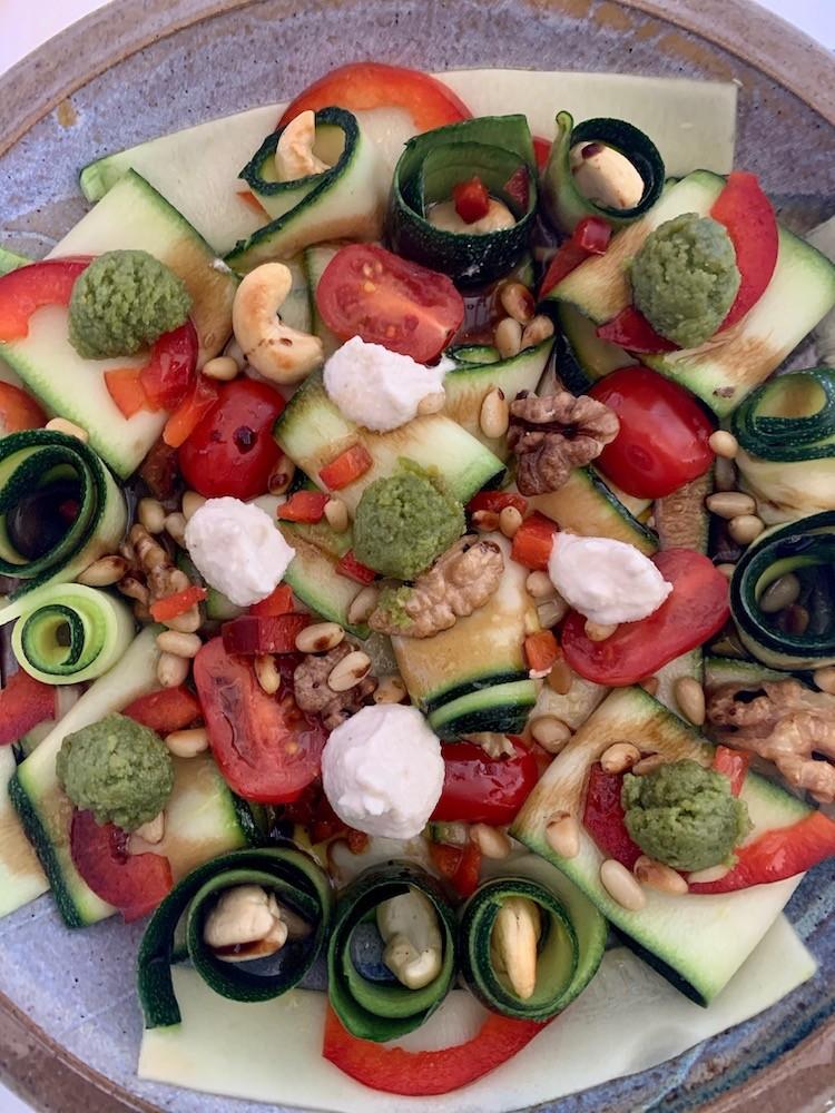 Close up of zucchini carpaccio salad