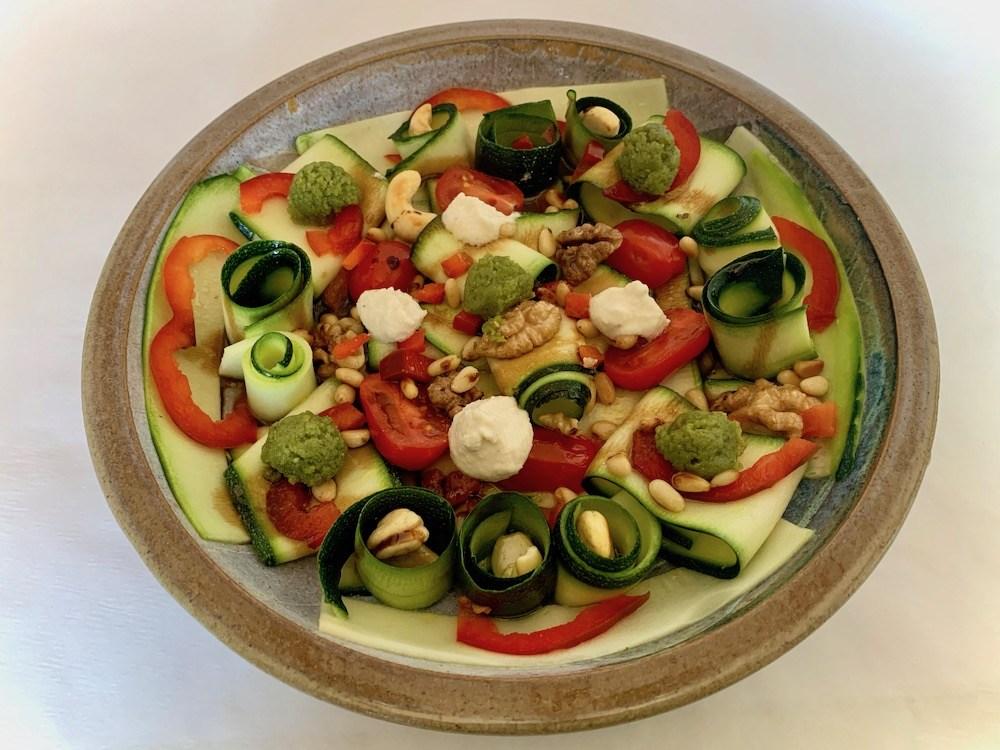 Plate of zucchini carpaccio