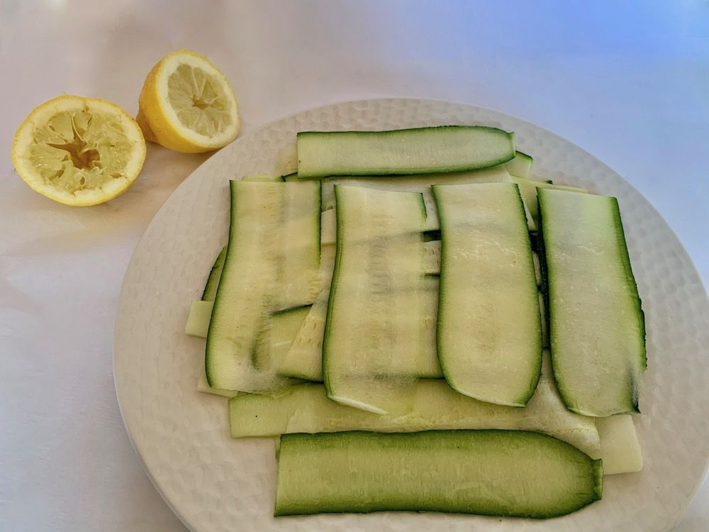 Think slices of zucchini
