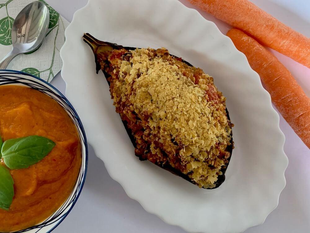 Stuffed eggplant with vegan carrot sauce
