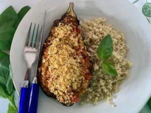 Stuffed eggplant with quinoa
