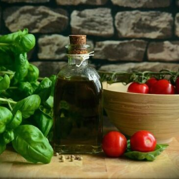 Fresh basil, olive oil and cherry tomatoes