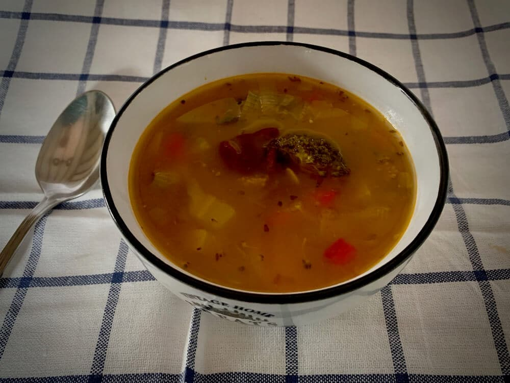 Bowl of homemade vegetable & bean soup