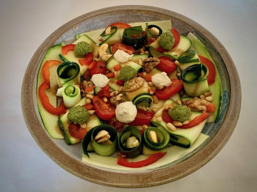 Plate of zucchini carpaccio salad