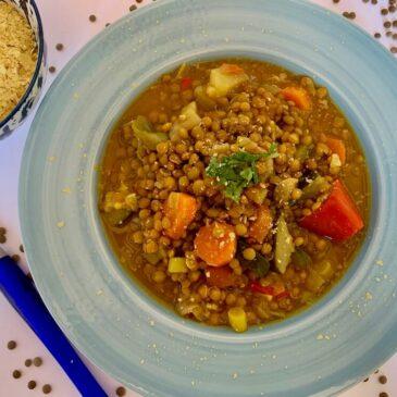 Bowl of vegan lentil stew