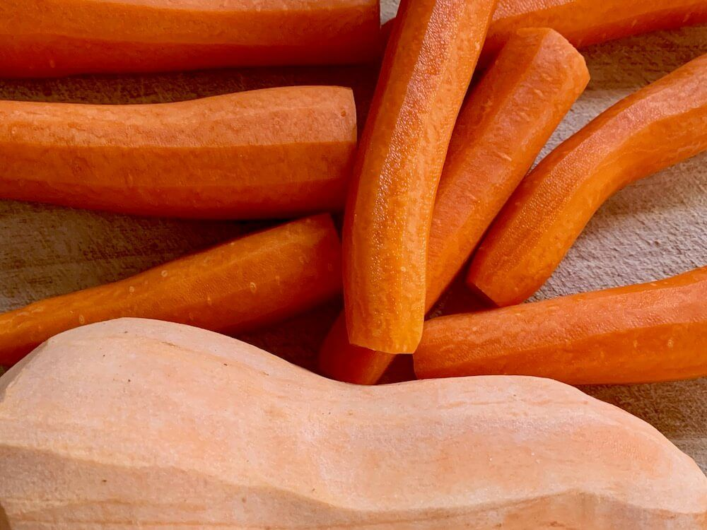 Peeled carrots and sweet potato