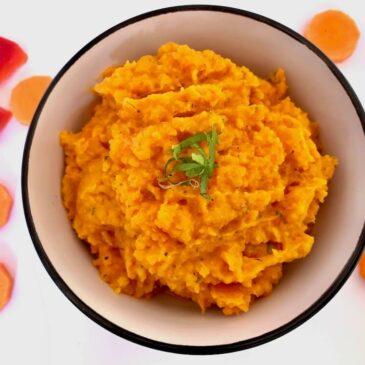 Bowl of carrot and sweet potato mash