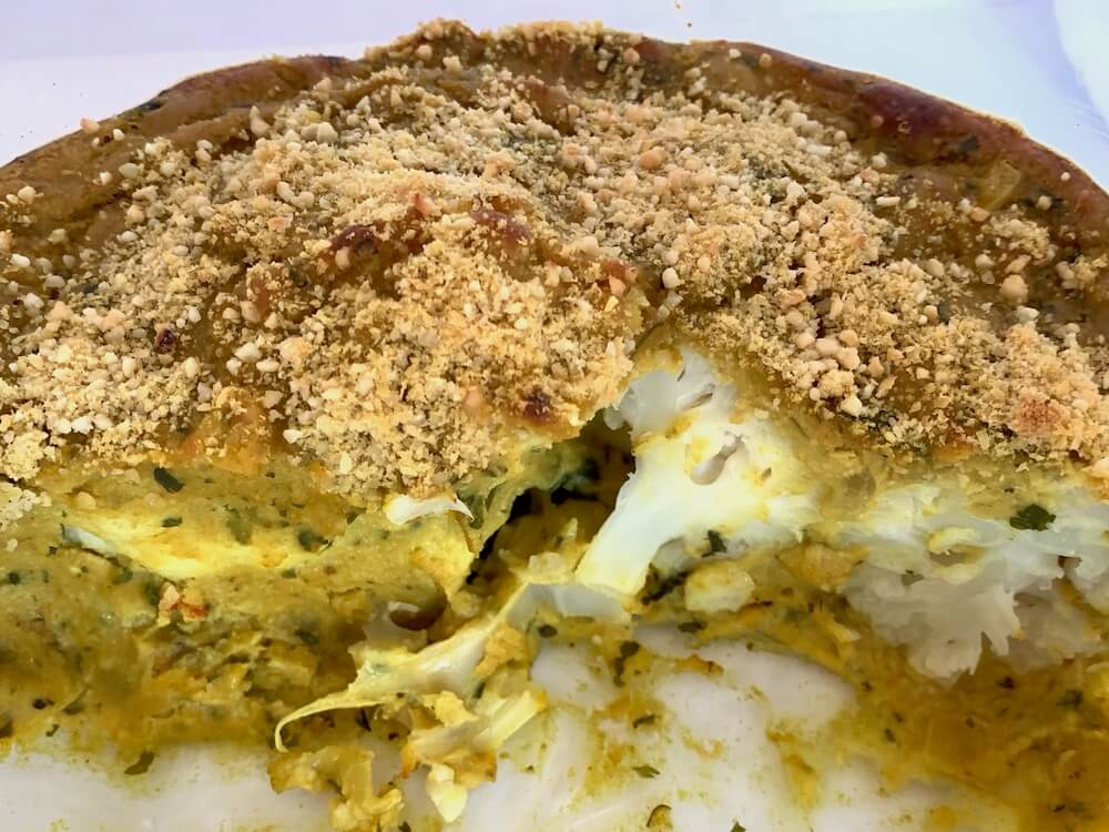 Casserole dish with vegan cauliflower cheese