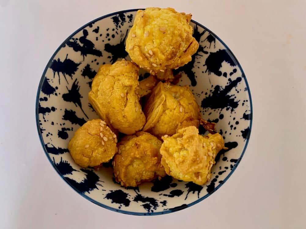 Cauliflower snacks in a blue bowl