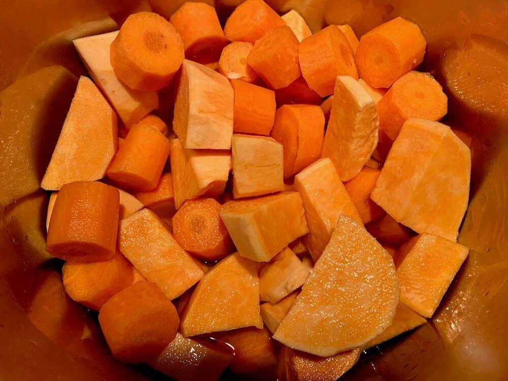 Chopped carrots and sweet potato