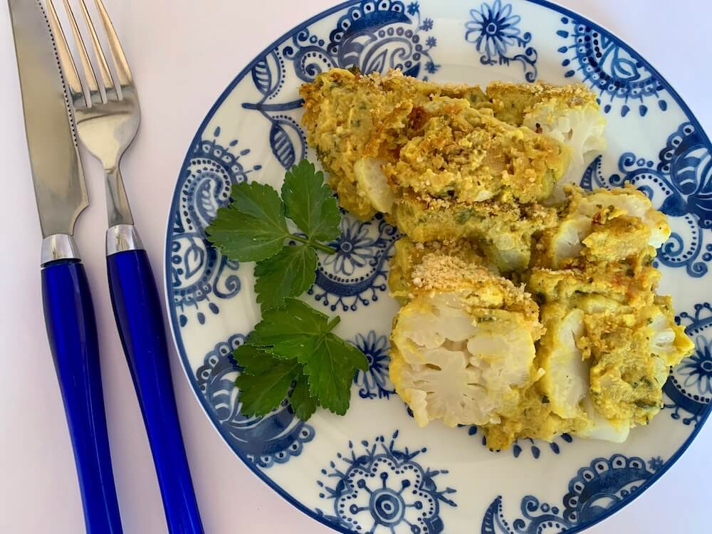 Gluten free, vegan cauliflower cheese