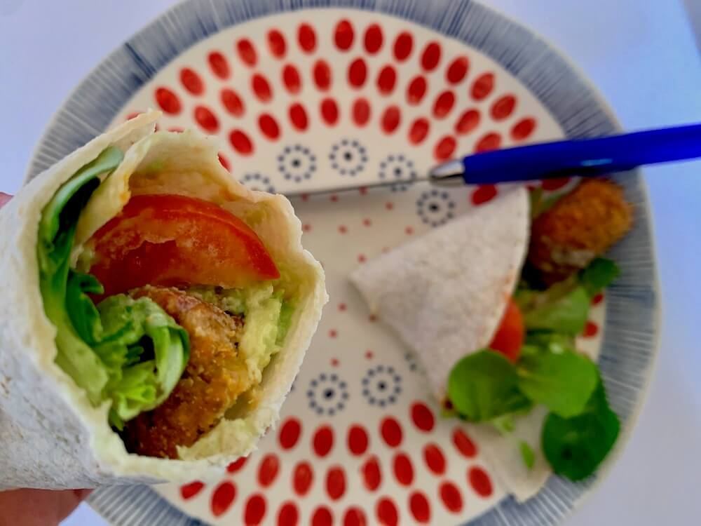 Vegan balles and salad in a wrap