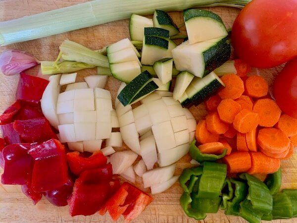 Chopped vegetables for lentil stew