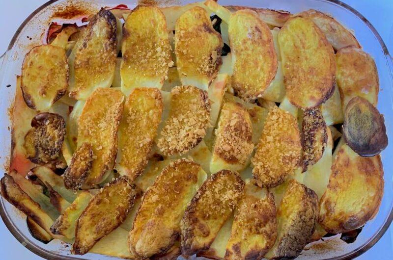 Potato Zucchini & Tofu Casserole with Beetroot