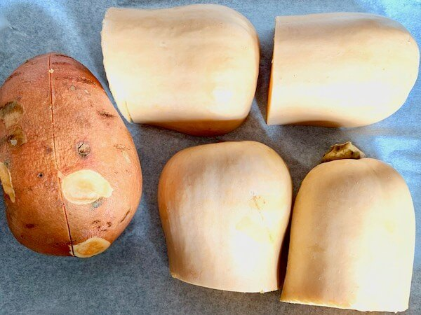 Butternut squash and sweet potato in a baking tray