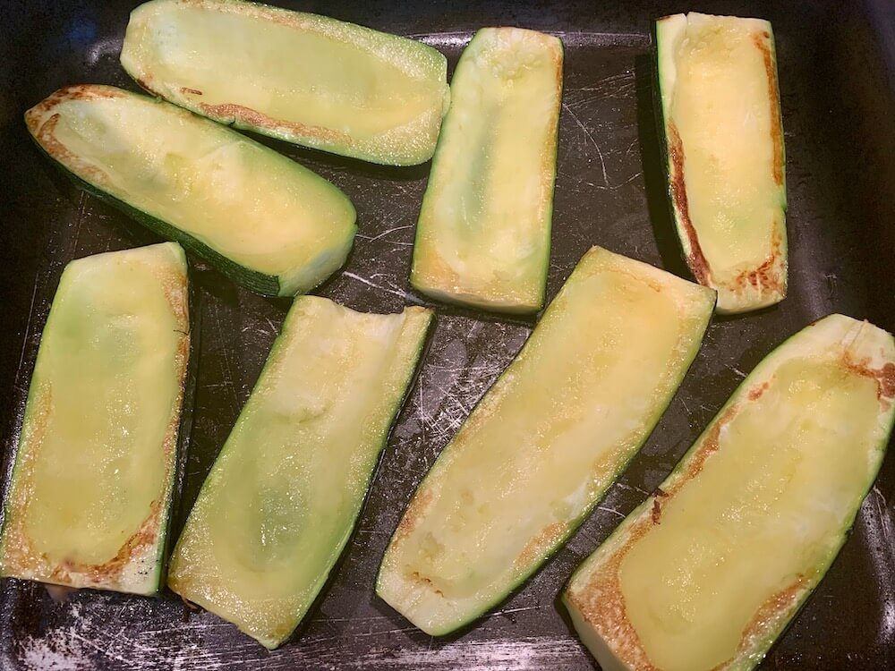 Zucchini shells after cooking, before stuffing
