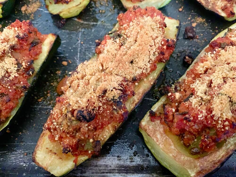 Zucchini boats stuffed with quinoa