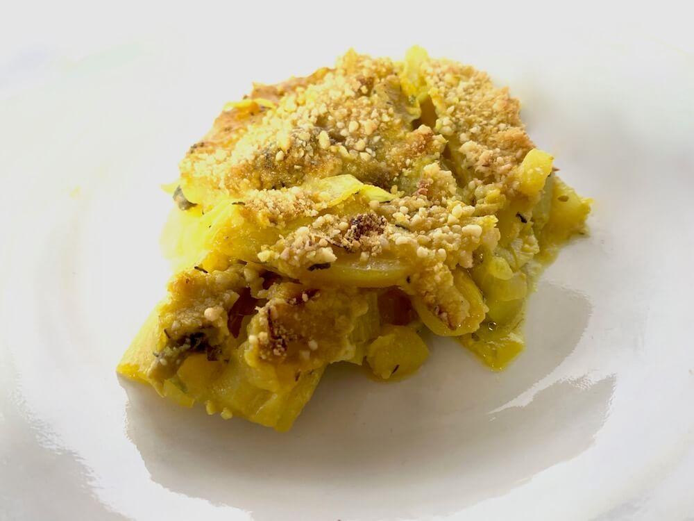 Plate of vegan potato casserole