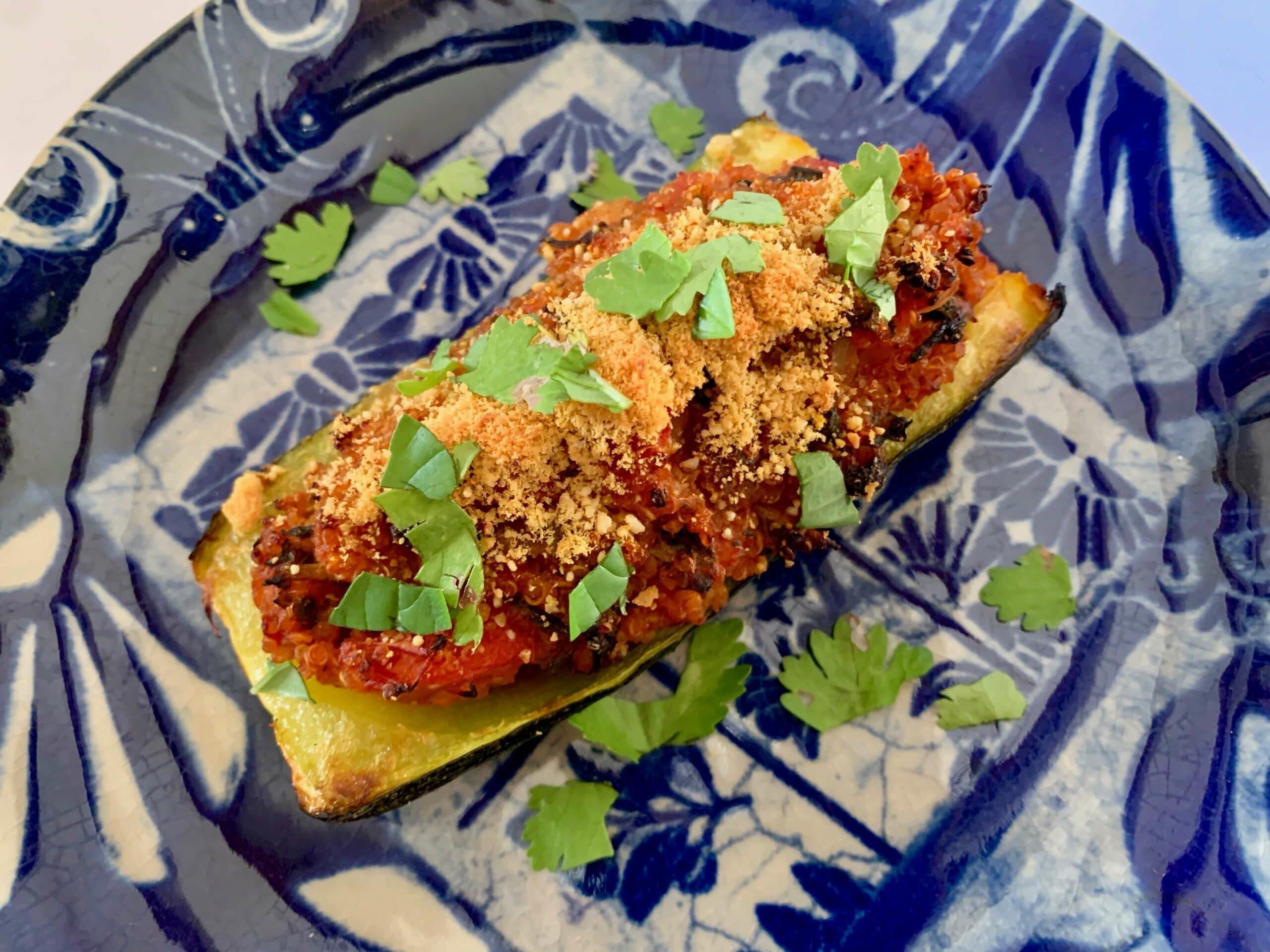 Vegan stuffed zucchini boat