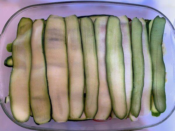 Thin layers of zucchini