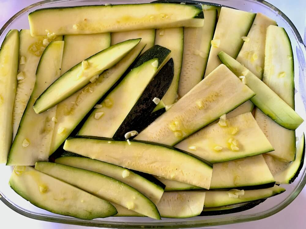 Zucchini coated in garlic oil