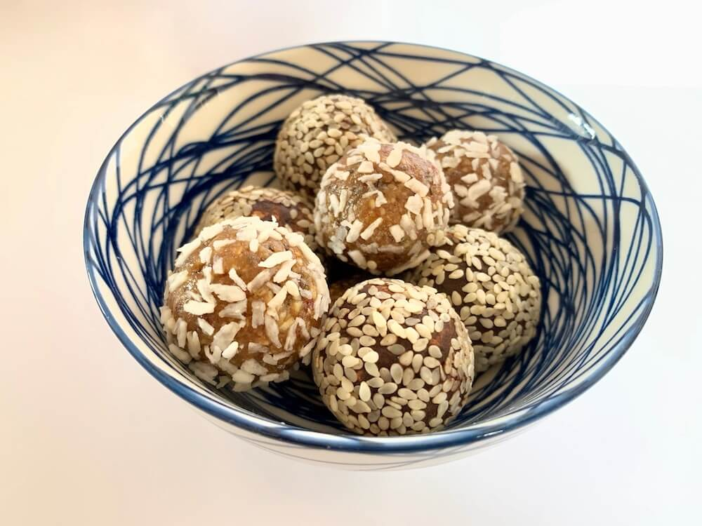 Bowl of no bake protein energy balls