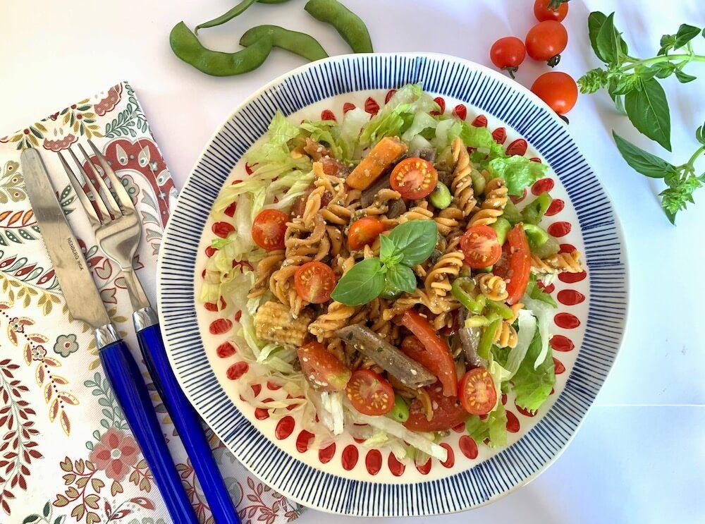 Plate of gluten free pasta salad