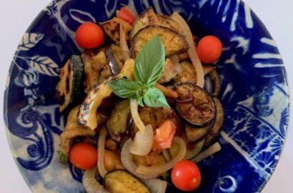 Bowl of grilled summer vegetable salad