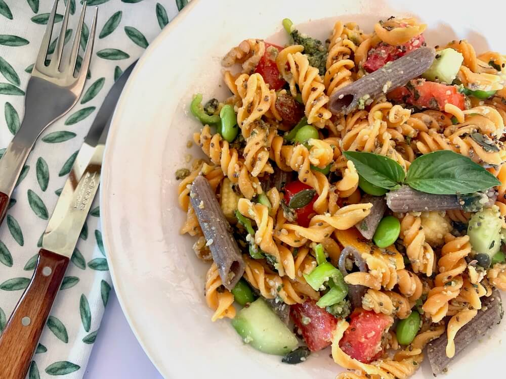 Plate of lentil gluten free pasta salad