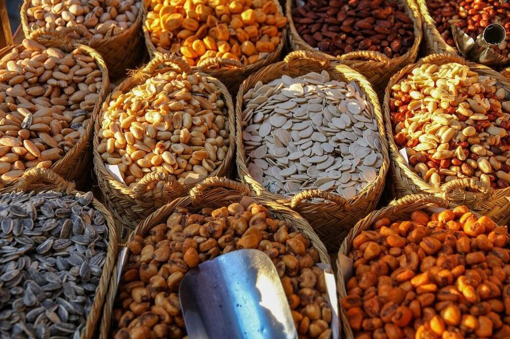 Nuts and seeds in a market
